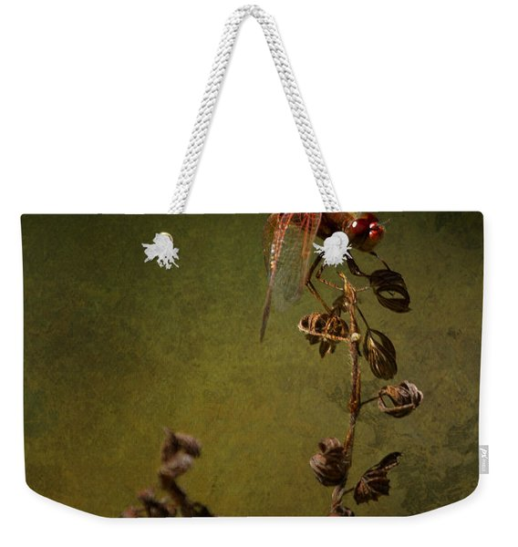 Red Dragonfly On A Dead Plant Weekender Tote Bag