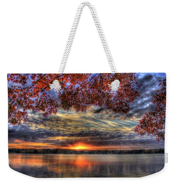 Good Bye Until Tomorrow Fall Leaves Sunset Lake Oconee Georgia Weekender Tote Bag