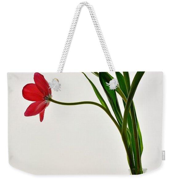 Red Flowers In Glass Vase Weekender Tote Bag