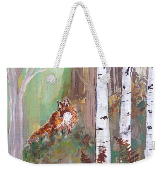 Red Fox And Cardinals Weekender Tote Bag