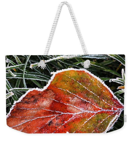 Red Frosty Leaf On Frozen Ground Weekender Tote Bag