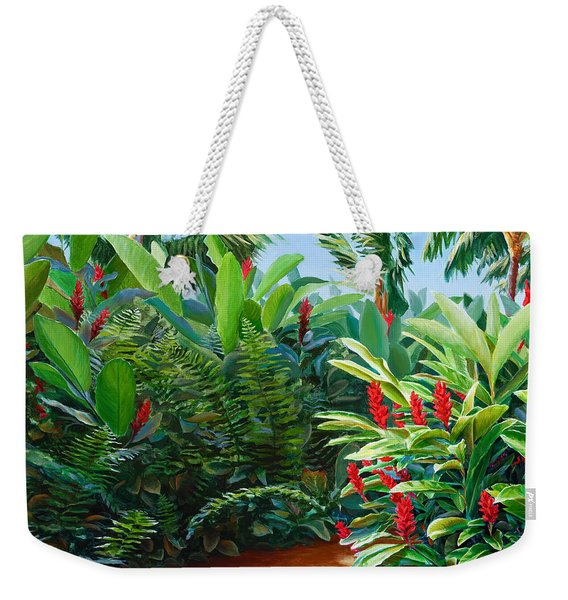 Tropical Jungle Landscape - Red Garden Hawaiian Torch Ginger Wall Art Weekender Tote Bag