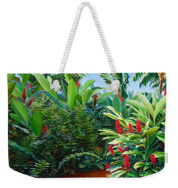 Tropical Jungle Landscape - Red Garden Hawaiian Torch Ginger Wall Art Weekender Tote Bag
