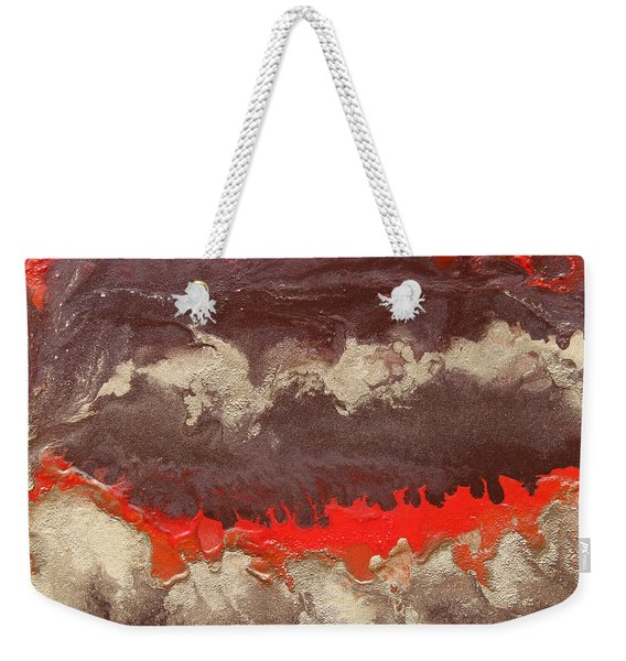 Red Gold And Brown Abstract Weekender Tote Bag