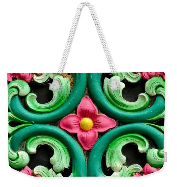 Red Green And Blue Floral Design Singapore Weekender Tote Bag