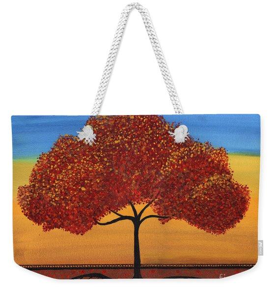 Red Happy Tree Weekender Tote Bag