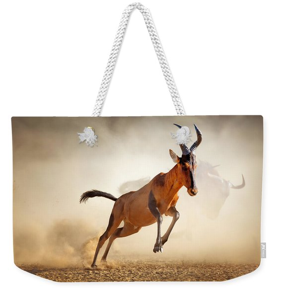 Red Hartebeest Running In Dust Weekender Tote Bag