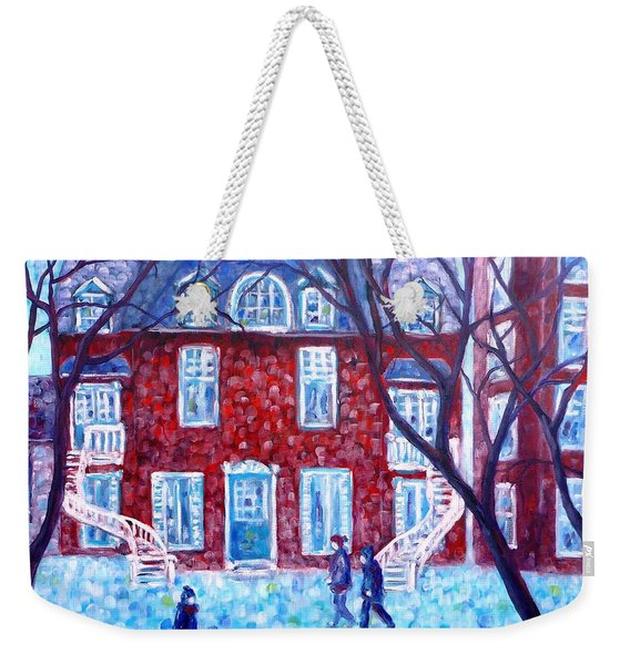 Red House In Montreal - Cityscape Weekender Tote Bag