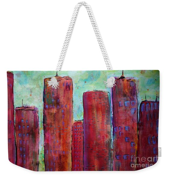 Weekender Tote Bag featuring the painting Red In The City by Jacqueline Athmann