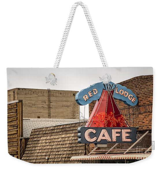 Red Lodge Cafe Old Neon Sign Weekender Tote Bag