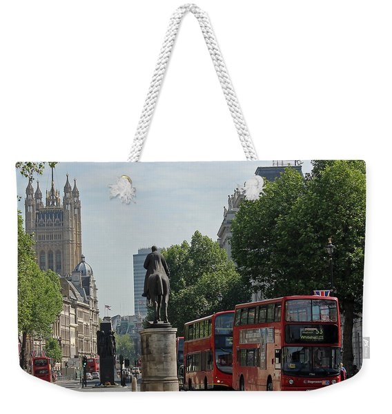 Red London Bus In Whitehall Weekender Tote Bag