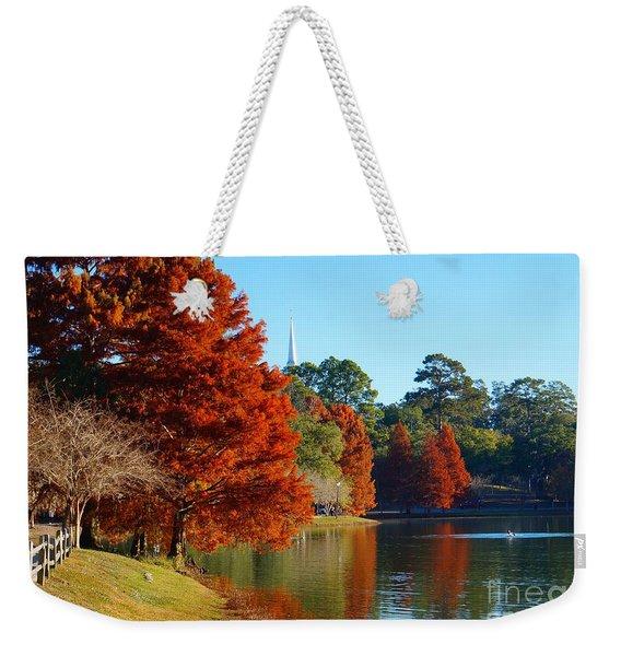 Red Pine On Lake Ella Weekender Tote Bag