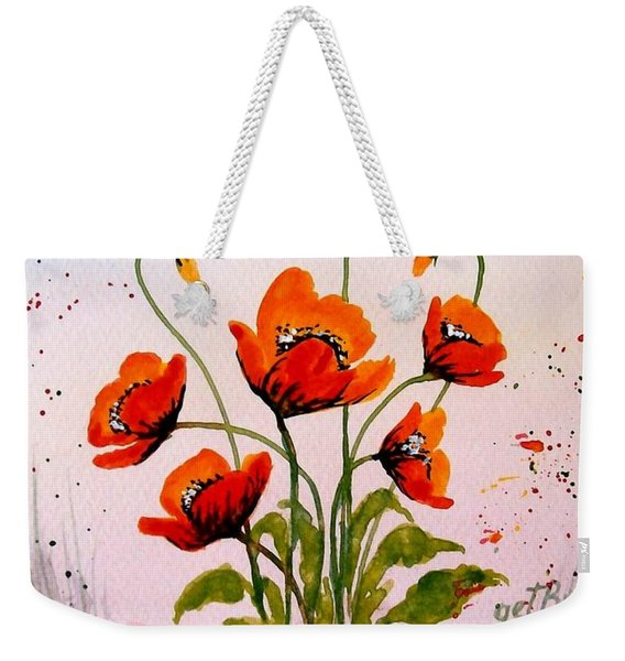 Red Poppies Original Watercolor  Weekender Tote Bag