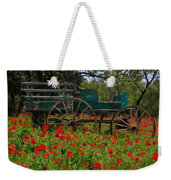 Red Poppies With Wagon Weekender Tote Bag