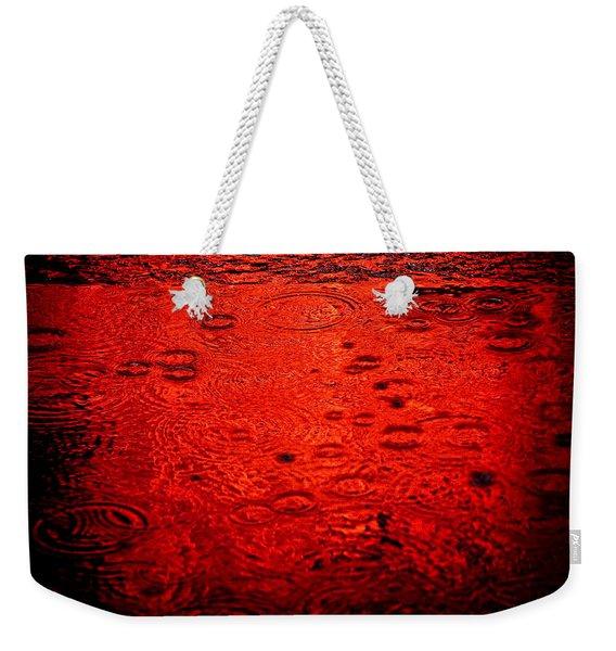 Red Rain Weekender Tote Bag