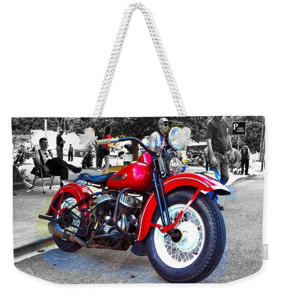 Red Rider On Black Weekender Tote Bag
