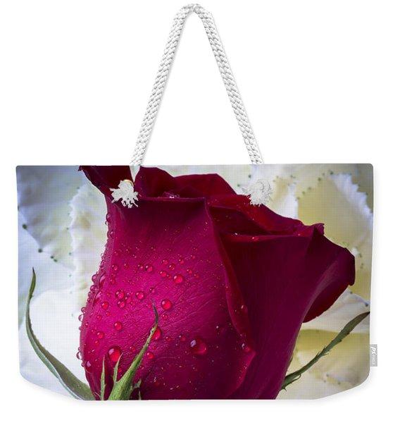 Red Rose And Kale Flower Weekender Tote Bag