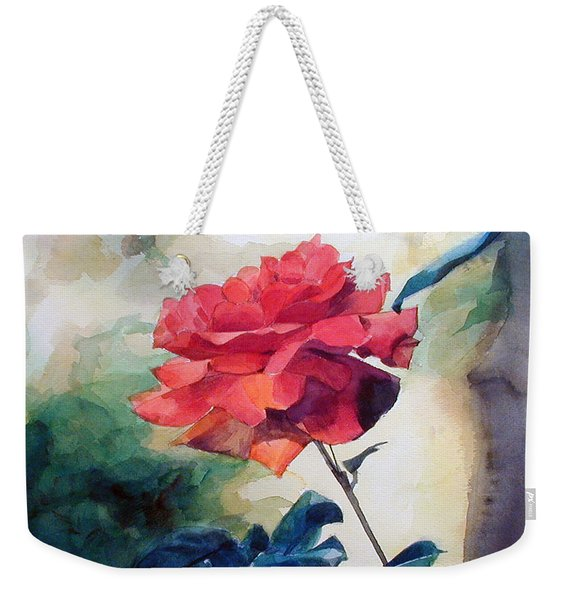 Watercolor Of A Single Red Rose On A Branch Weekender Tote Bag