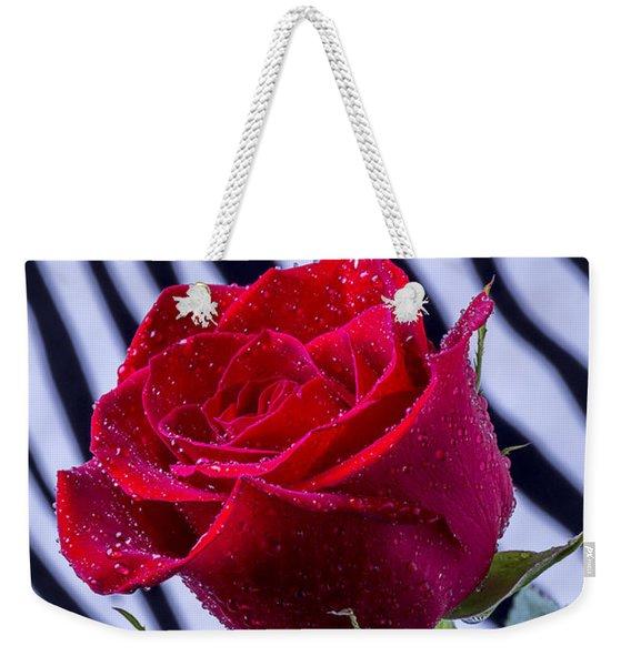 Red Rose With Stripes Weekender Tote Bag