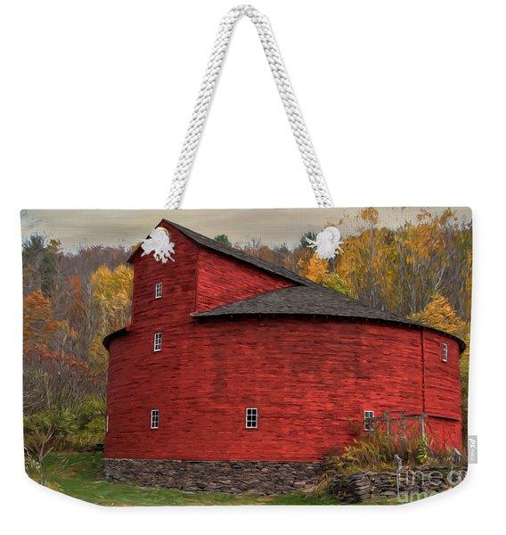 Red Round Barn Weekender Tote Bag