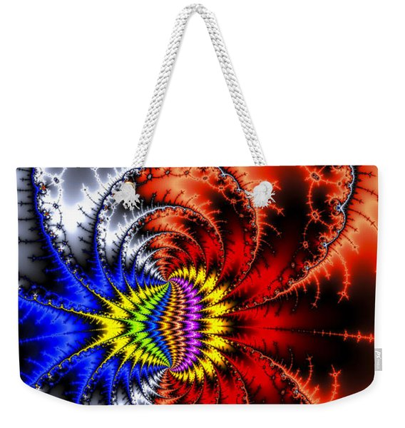 Red Silver And Blue Wild And Crazy Abstract Weekender Tote Bag