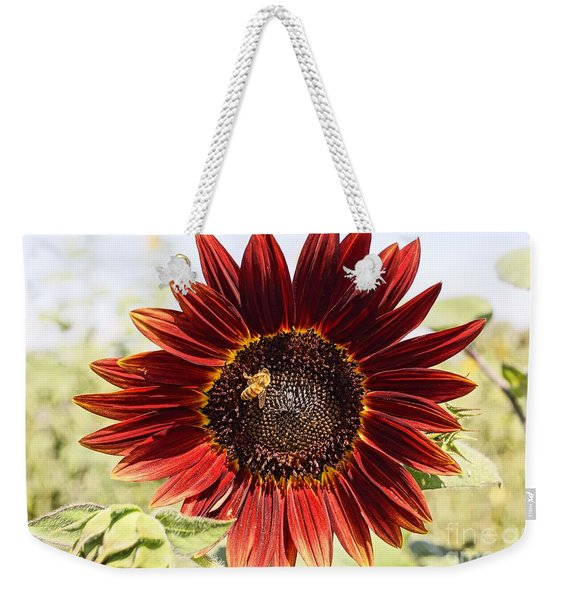 Red Sunflower And Bee Weekender Tote Bag