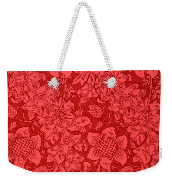 Red Sunflower Wallpaper Design, 1879 Weekender Tote Bag