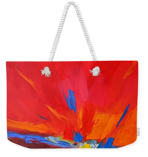 Red Sunset, Modern Abstract Art Weekender Tote Bag