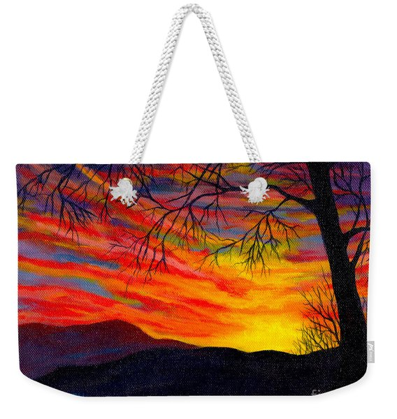 Weekender Tote Bag featuring the painting Red Sunset by Nancy Cupp
