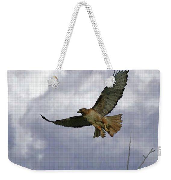 Red Tail Hawk Digital Freehand Painting 1 Weekender Tote Bag