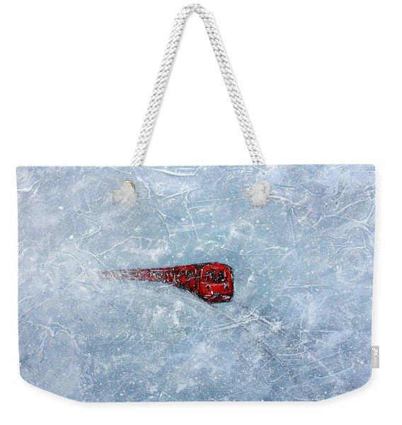 Red Train Braving The Winter Weekender Tote Bag