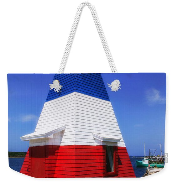 Red White And Blue Lighthouse Weekender Tote Bag