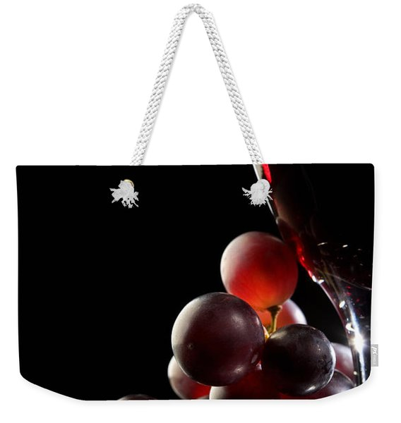 Red Wine With Grapes Weekender Tote Bag