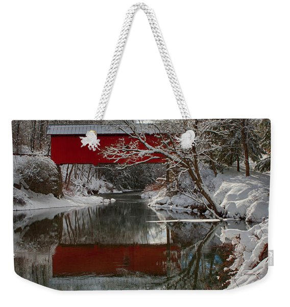Weekender Tote Bag featuring the photograph reflection of Slaughterhouse covered bridge by Jeff Folger