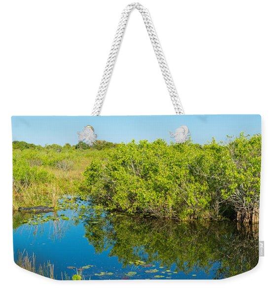 Reflection Of Trees In A Lake, Anhinga Weekender Tote Bag