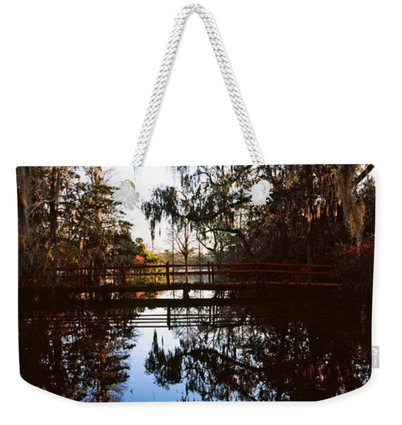 Reflection Of Trees In Water, Magnolia Weekender Tote Bag