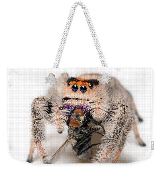 Regal Jumping Spider With Prey Weekender Tote Bag