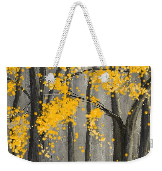 Rejuvenating Elements- Yellow And Gray Art Weekender Tote Bag