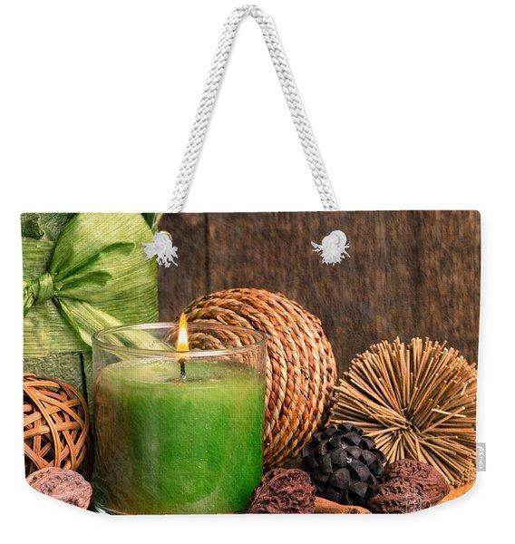Relaxing Spa Candle Weekender Tote Bag