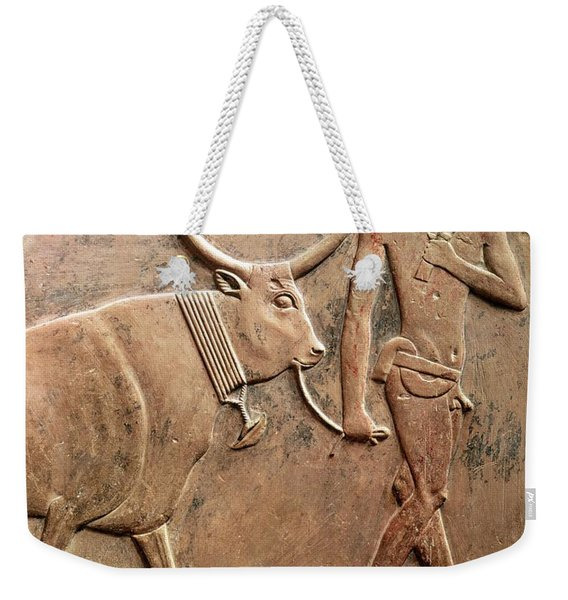 Relief Depicting A Peasant Leading A Cow To Sacrifice, From The Mastab Of Ptah-hotep Weekender Tote Bag