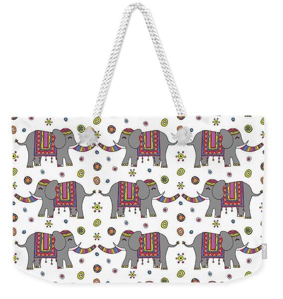 Repeat Print - Indian Elephant Weekender Tote Bag