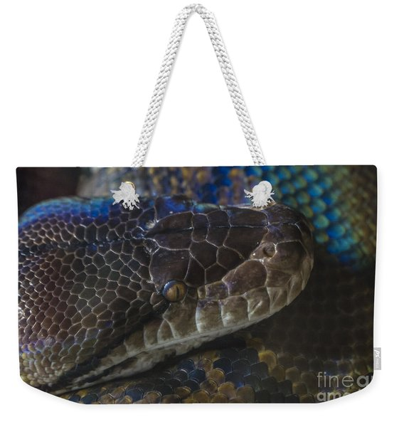 Reticulated Python With Rainbow Scales Weekender Tote Bag