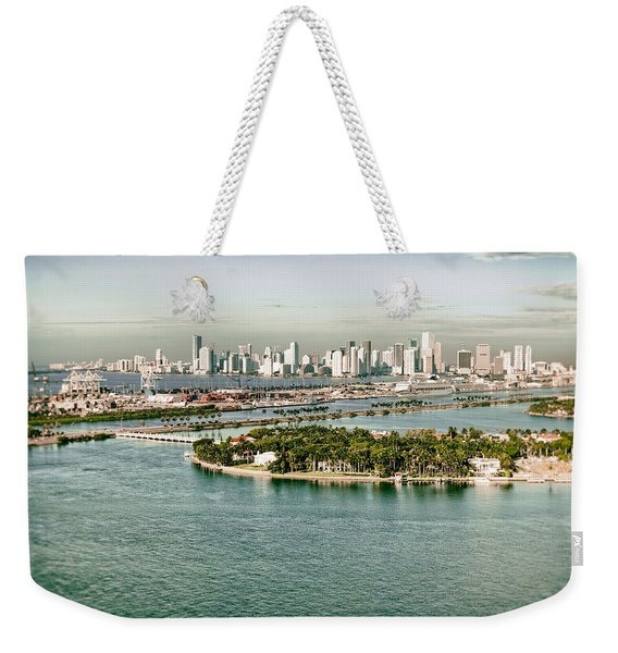 Retro Style Miami Skyline And Biscayne Bay Weekender Tote Bag