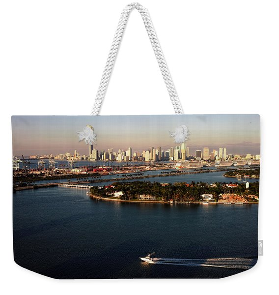 Retro Style Miami Skyline Sunrise And Biscayne Bay Weekender Tote Bag