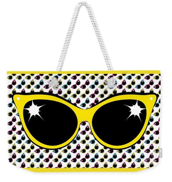 Retro Yellow Cat Sunglasses Weekender Tote Bag