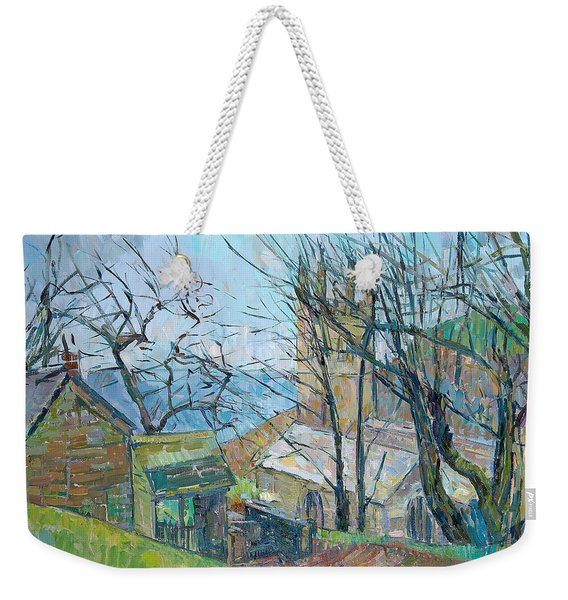Reverend Hawkers Church At Morwenstow Oil On Canvas Weekender Tote Bag