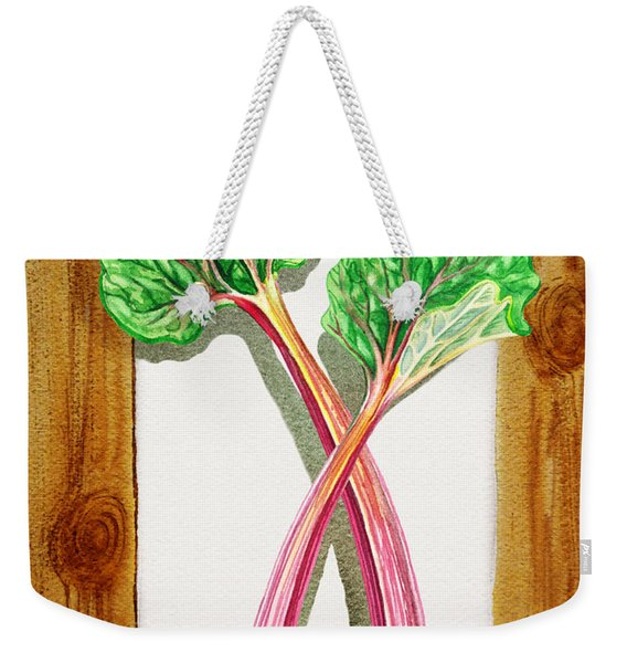 Rhubarb Tasty Botanical Study Weekender Tote Bag