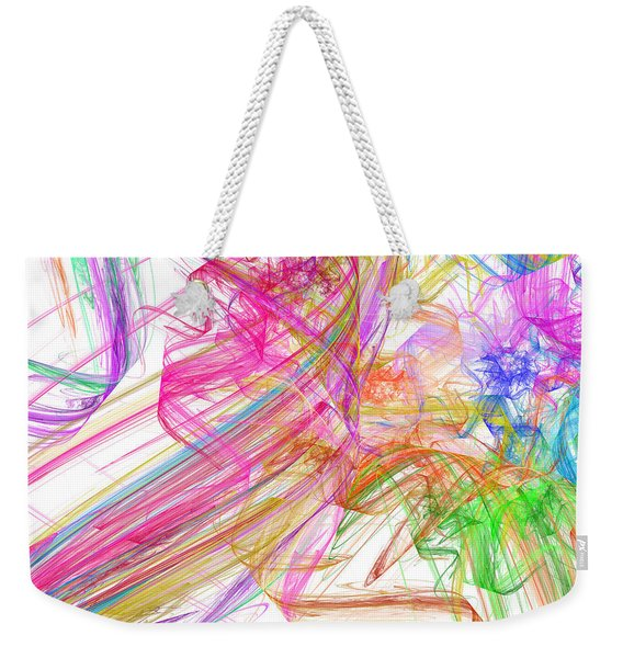 Ribbons And Curls White - Abstract - Fractal Weekender Tote Bag