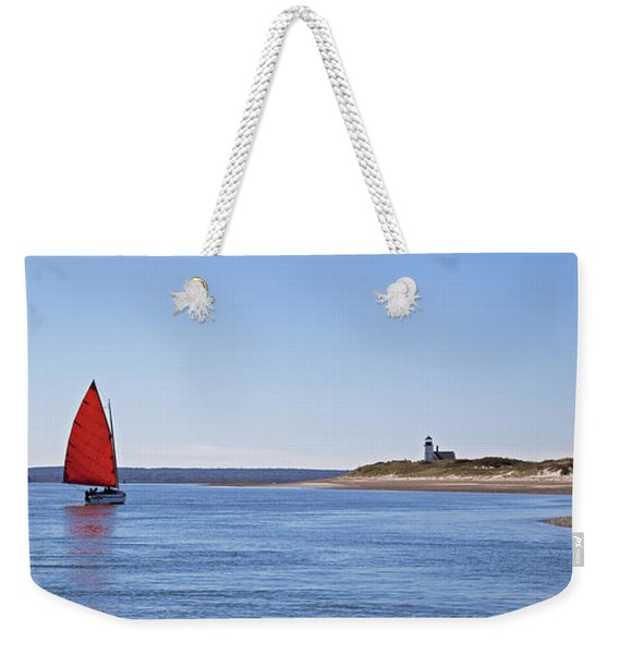 Ripple Catboat With Red Sail And Lighthouse Weekender Tote Bag