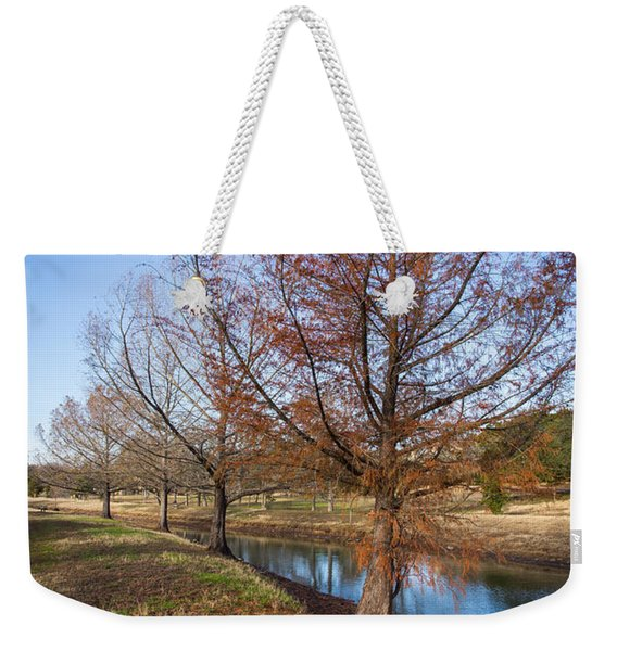 Weekender Tote Bag featuring the photograph River And Winter Trees by John Wadleigh